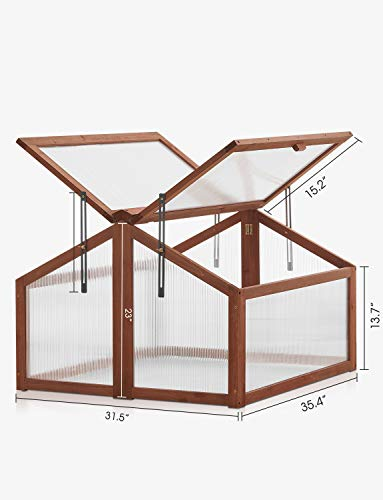 kealive Cold Frame Greenhouse Portable Wooden Cold Frame, Planter Bed Protection Outdoor with Double Adjustable Cover, Natural, 35.4L x 31.5W x 23H