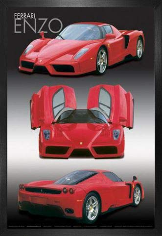 1art1 Ferrari Poster and Frame (MDF) - Enzo, Collage (36 x 24 inches)