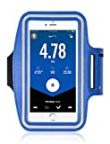 Amoos Water Resistant Cell Phone Armband Case for iPhone X, Xs Max, 6+, Samsung Galaxy Note 10+,9,S20, S10+, S9, S8, S7, S6, with Adjustable Reflective Workout Band Skin & Key Holder Case (Blue)
