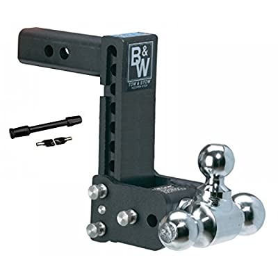 Image of Ball Mounts B&W Hitches TS10049B Tow & Stow 7'-7.5' Adjustable Tri Ball Mount Receiver Hitch and 5/8' Black Receiver Hitch Lock Bundle