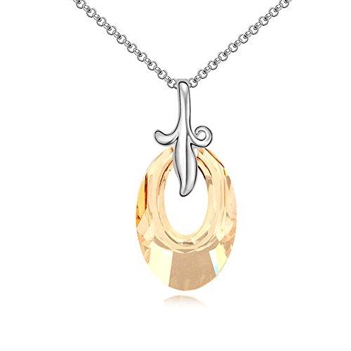 Gorgeous Jewelry Swarovski Austrian Crystal Necklace Leaf Shape Yellow Oval Pendant Love Still As Always Oval Shape Austrian Crystals