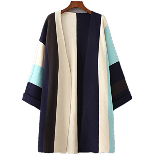 Cashmere Sweater Coat - MoomTry Women's Fashion Cardigan Sweater Fringe Pattern Sweaters Coat Blue One size