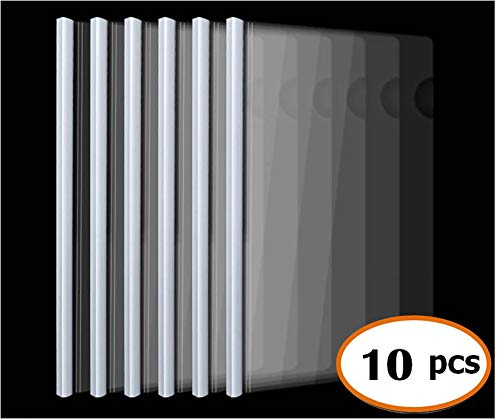 Plastic File Folder with Sliding Bar(10mm) Report Covers, 40 Sheet Capacity, Transparent Resume Presentation File Folders Organizer Binder for A4 Size Paper, 10 Pcs
