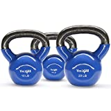 Yes4All Combo Special: Vinyl Coated Kettlebell Weight Sets – Weight Available: 5, 10, 15, 20, 25, 30 lbs (Dark Blue - 10, 15, 20 lbs)