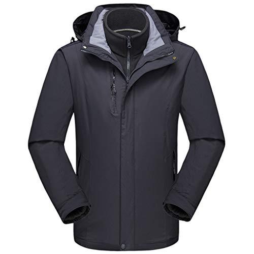 Chaqueta de Esquí con Capucha Hombre - 3 en 1 Abrigo Impermeable Rompevientos Cálido Traje de Nieve Lana Interiorpara...