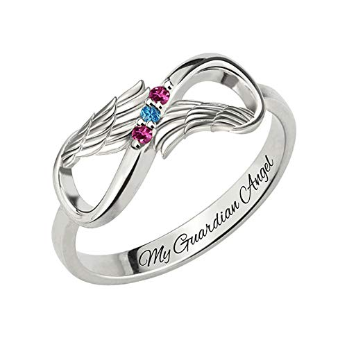 Getname Necklace Personalized Angel Wing Infinity Heart Ring with Birthstone Sterling Silver 926 Wedding Band Ring Engagement Ring for ()