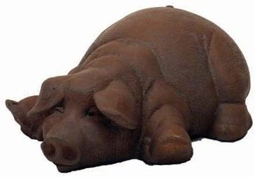 Solid Rock Sroneworks Lay Down Pig Stone Statue 5in Tall Brick Pink Color