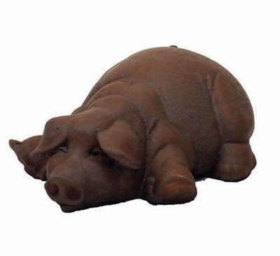 Pig Stone - Solid Rock Sroneworks Lay Down Pig Stone Statue 5in tall Brick Pink Color