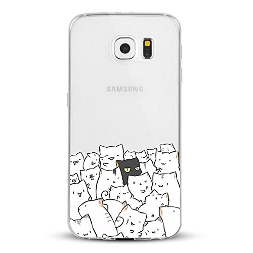 AIsoar Compatible/Replacement fit Galaxy S 7 S7 Case, Clear Shock-Absorption Non Slip Cute Dog Design TPU Bumper Ultra Slim Protective Scratch-Resistant Case for Samsung Galaxy S7 (A Group of Cats)
