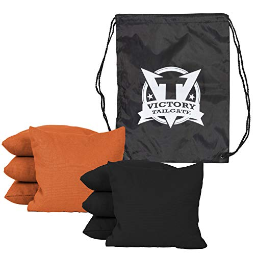 Victory Tailgate 8 Colored Corn Filled Regulation Cornhole Bags with Drawstring Pack (4 Black, 4 Orange) by Victory Tailgate (Image #1)