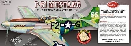 Guillow's P-51 Mustang Balsa Flying Model Kit 1:16 Scale Balsa Wood Kit
