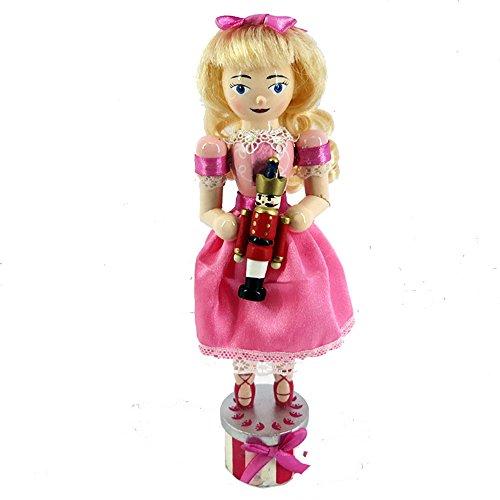 Nutcracker Ballet Clara Girl Figure Doll Ballerina Pretty Pink Dress Wood 10 Inch Exclusive Design