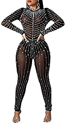 Shiny Rhinestone With Black Mesh Jumpsuits With Long Sleeves
