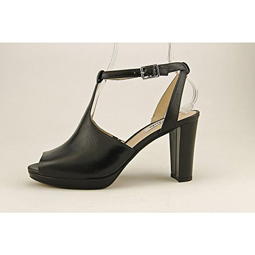 Ankle Charm Leather Peep Toe Sandal Strap Women's Kendra Black Clarks zTnqXgt