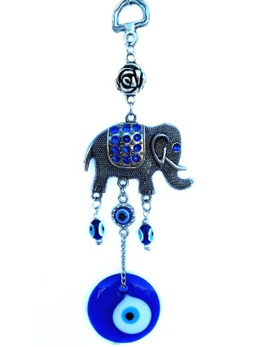 Evil Elephants (Blue Evil Eye with an Elephant Hanging Ornament for Protection-032)