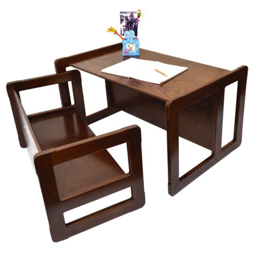3 in 1 Childrens Multifunctional Furniture Set of 2, One Small Bench or Table and One Large Bench or Table Beech Wood, Dark Stained