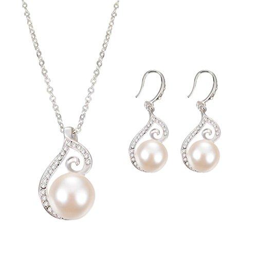 Creazy Bridal Crystal Wedding Jewelry Set Alloy Necklace Earrings Rhinestone (063#)