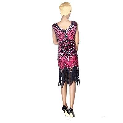 Todayme Women 1920s Gastby Sequin Art Nouveau Embellished Fringed Flapper Vintage Dress