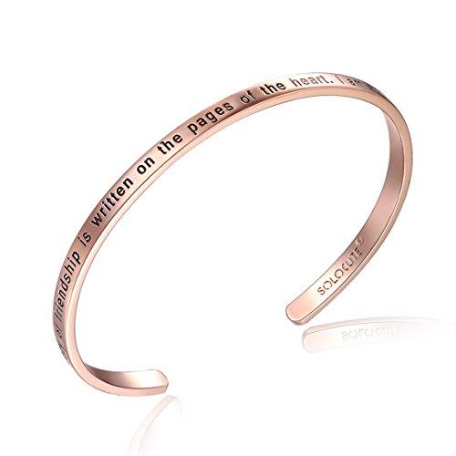 SOLOCUTE Rose Gold Bangle Bracelet Engraved