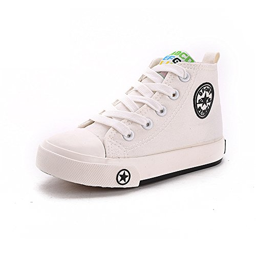Southed Classic Kids Casual Comfort Zipper Lace Up High Top Canvas Shoes (Toddler/Little Kid/Big Kid)(White-21.5 Little Kid) Toddler White Combo Footwear