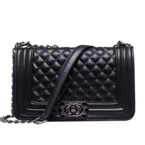 hainan Quilted Plaid Women Messenger Bag Chains Mini Black Crossbody Bags for Women Leather Small Bags Black 26 cm10 cm17 cm