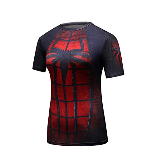 PKAWAY Short Sleeve Red and Black Spider Compression Shirt Womens Cosplay Costume L -