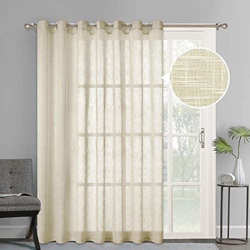 NICETOWN Linen Textured Sheer Curtains – Extra Wide Grommet Semi Voile Curtain Panel Window Treatment Drape for Living Room Bedroom Patio, Beige, 1 Panel 100 W by 84 L inches, Sold as 1 Panel