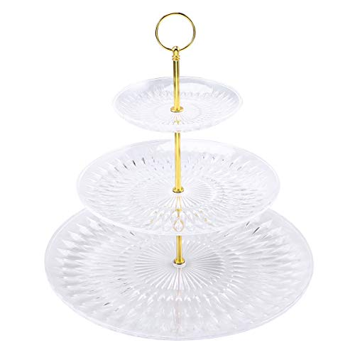Round Three Tiers Cake Display Stand and Fruit Plate Party Serving Platter Cupcake Dessert Stand for Birthday Wedding Decor -