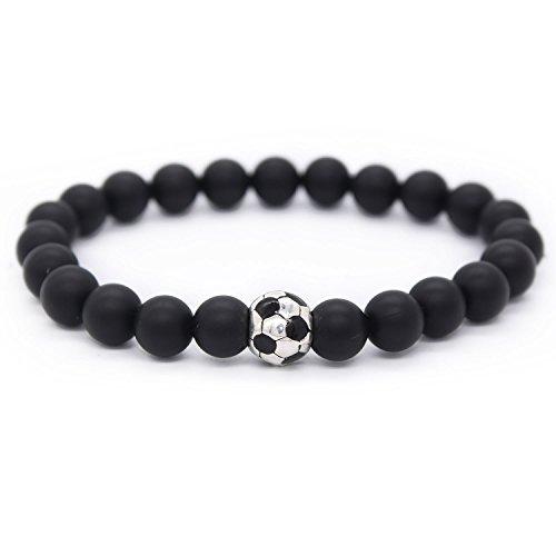 Poshfeel Natural 8Mm Black Matte Agate Stone Beaded Bracelet With Soccer Football Charm  7 5