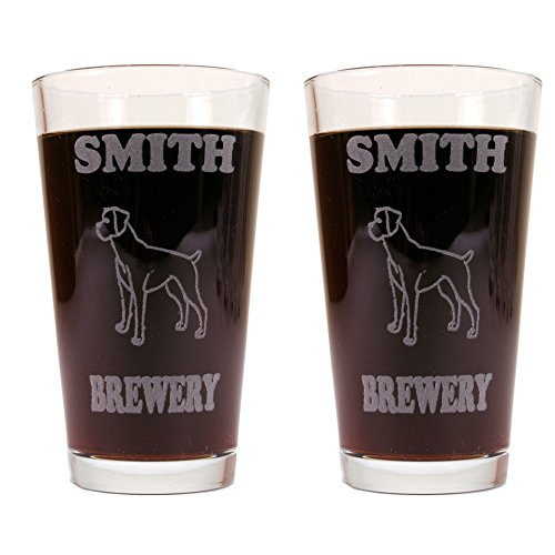 Personalized Custom Beer Mugs With Dog Breeds - 2 Pack of Made in USA Pint Glasses (Boxer)