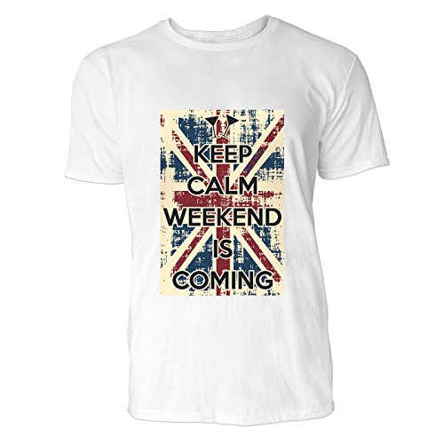 SINUS ART® Keep Calm Weekend Is Coming Herren T-Shirts in Weiss Fun Shirt mit tollen Aufdruck