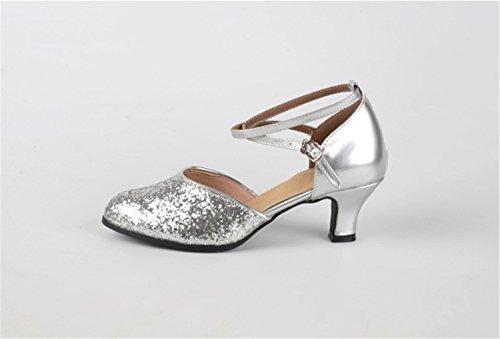 Moderna Silver de Lentejuelas shoes Plaza Salón de Plaza Blandos Baile Latino de Ruanlei Baile de wR48fxqqU