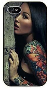 Surelock iPhone 4 / 4s Tattooed girl, tattoo - black plastic case, hot girl, girls