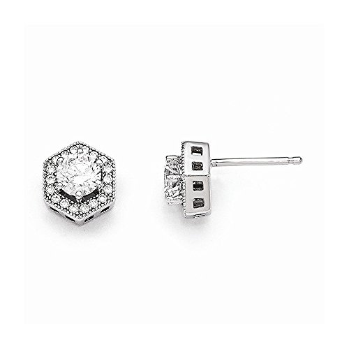 Sterling Silver & CZ Brilliant Embers Hexagon Post (Large Hexagon Post)