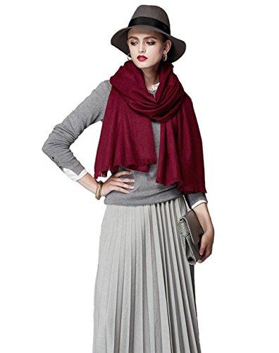 (100% Merino Wool Scarf, Faurn Fashion Knitted Soft Smooth Cashmere Feel Merino Scarves Burgundy)
