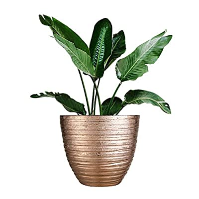 FANTASTIC :) 14-INCH Shinny Finish Decorative Plastic Planters Flower Pot (1-Pack, Wrinkle Shiny-Copper): Home & Kitchen