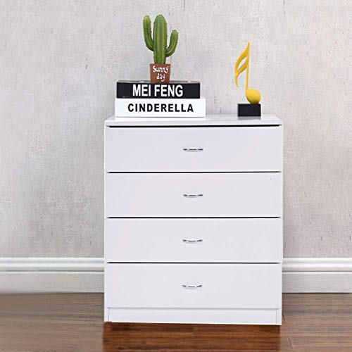 HOBBYN Nightstand,4-Drawer Chest Solid Wood Four Drawer Storage Dresser Wood & Composite Construction, Ideal for Nursery, Toddlers Room, Kids Room (White)