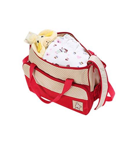Finerolls Set 5 kits Bolsa de Mama Para Bebe Biberon Bolso/Bolsa/Bolsillo Maternal Bebé para carro carrito biberón colchoneta comida pañal con Gran Capacidad de 8 Colores #1 Rojo
