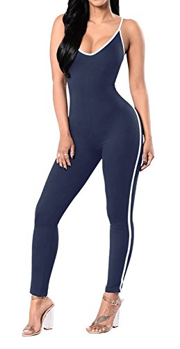 Jescakoo Rompers and Jumpsuits for Women Slim Fit Sleeveless Long Unitard Bodysuits Navy XL]()