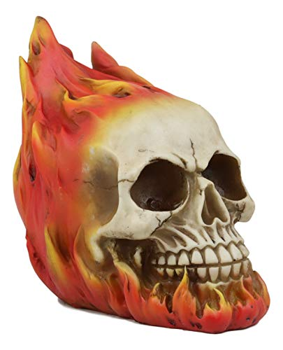 Ebros Gift Flaming Fire Hot Rod Skull Statue Hell Inferno Burning Skulls Biker Ossuary Graveyard Spooky Halloween Themed Decor Day of The Dead DOD Skeleton Skeletons Macabre Sculpture ()