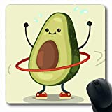 Ahawoso Mousepads for Computers Character Green Fit Cute Avocado Doing Exercises Food Drink Sports Recreation Funny Hoop Design Flat Oblong Shape 7.9 x 9.5 Inches Non-Slip Oblong Gaming Mouse Pad