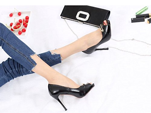 Work Fish Mouth Single Shoes MDRW Shoe Mouth Buckle Waterproof Sexy Shallow Fine 38 Platform Heel Elegant Leisure Spring Black Lady 10Cm Heeled Metal Career High fqXAXwE