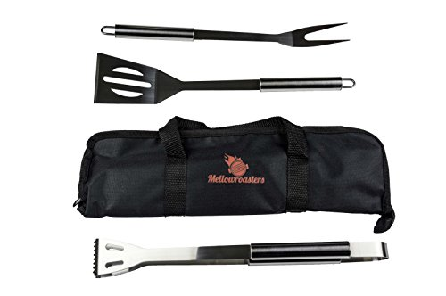Barbecue Grill Tool Set - 3 Piece BBQ Grilling Utensil Kit Including Stainless Steel Spatula, Fork, and Tongs with Bonus Carrying Case