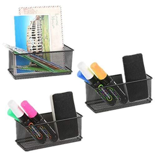 Magnetic Office Organizer Set of 3 Magnetic Rectangular Metal Mesh Storage Bins Basket Perfect for Whiteboard, Refrigerator and Locker Accessories (Black)