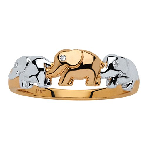 White Diamond Accent Two-Tone 10k Gold Elephant Ring (.01 cttw, HI Color, I3 Clarity)