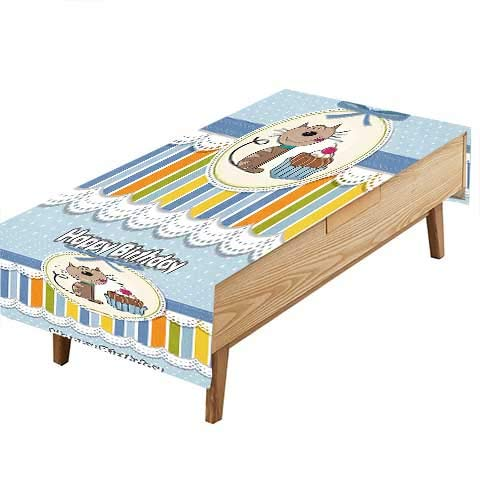 PINAFORE Indoor/Outdoor Spillproof Tablecloth Kids Present Wrap Like Image Chocolate Cake Cat Party Baby Blue Great Buffet Table, Parties,Wedding & More W70 x L90 ()