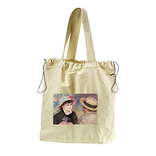 Boating Couple (Renoir) Canvas Drawstring Beach Tote Bag by Style in Print