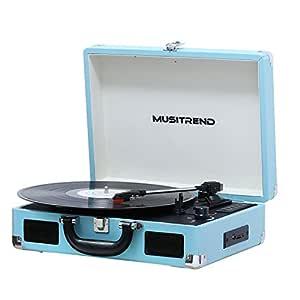 MUSITREND Tocadiscos 33/45/78 RPM, Maleta Portátil con 2 Altavoces Integrados, con RCA, Auriculares y Line in Montado (Azul)