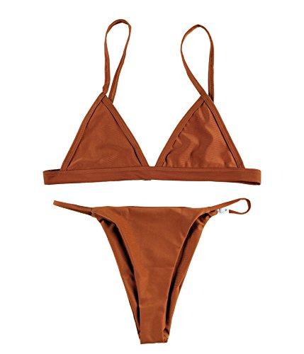 Macvise Women's 2 Pcs Bikini Triangle Top Brazilian Bottom Swimwear Bikini Set (Large(US 6-8), - Womens Bikini Brown