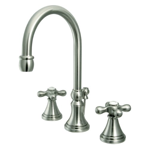 Kingston Brass KS2981AX Governor Widespread Lavatory Faucet with Brass Pop-Up and Metal Cross Handle, Polished Chrome